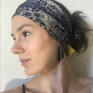 Navy Blue Silk Head Wrap Scarf Bohemian